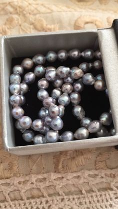 Blue Akoya seed pearls, baroque, for a delicate doble strand bracelet