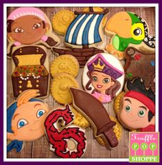 Jake and the Neverland Pirate Cookies Jake Cubby Izzy Skully Pirate Princess Bucky www.trufflepopshoppe.com
