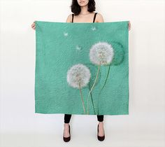 Photo Print Silk Scarf  OOAK  Dandelion Print by MScottPhotography