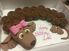 Dachshund cupcake dog cake