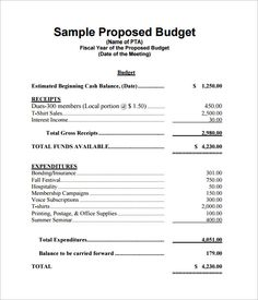 Office Example Of A Grant Proposal Budget  Office Budget Template