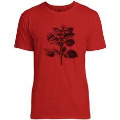 Mintage Wild Nettle Illustration Mens Fine Jersey T-Shirt (Red)