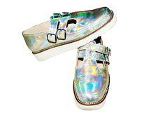 Vintage Laser Silver Platform ShoesSquare Toe by Kizzme on Etsy, $96.00
