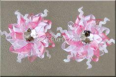 Wild, Funky Snowflake (Pink  White) Snowflake Hair Bow WInter Hair Bow Hair Clip