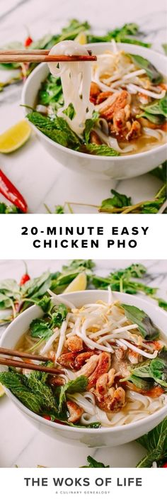 Chicken Pho, Chicken Noodle Soup, Delicious Food, Tasty, Pho Bowl, Pho Recipe, Pan Seared Chicken, Soup Dish, Woks