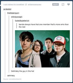 Things Only Former Emo Kids Will Understand I'll have you know that that's Patrick and he's the most amazing adorable and surely the most emo one ;)I'll have you know that that's Patrick and he's the most amazing adorable and surely the most emo one ; Emo Band Memes, Emo Bands, Music Bands, Band Jokes, Music Humor, Music Memes, Pop Punk, Stupid Funny Memes, Funny Pics