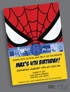 Spiderman Birthday Party Invitation  PRINTABLE by TwoCribs on Etsy, $15.00
