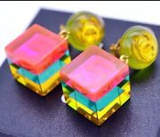 Authenic Rare Chanel Cube Pink Multi  Color Resin Collector Earrings Classic CC