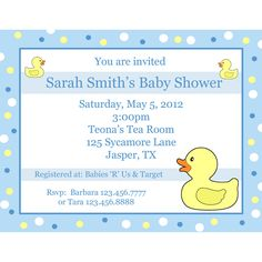 20 Personalized Baby Shower Invitations  - Blue Rubber Ducky. $18.00, via Etsy.