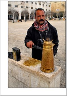 Society ► Coffee Seller, West Bank: At about million, the West Bank has a population larger than Qatar, but smaller than Kuwait. The largest city is Hebron. We Are The World, People Around The World, Terra Santa, Street Coffee, Israel Palestine, Holy Land, Street Food, Middle East, History