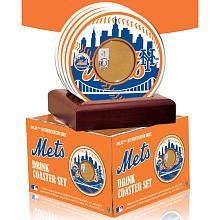 New York Mets Coasters - Set of 4 with Game Field Dirt