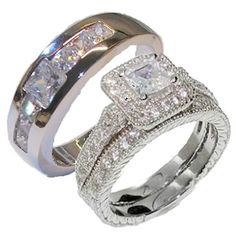 3 Pieces Mens Womens His Hers Engagement Wedding Ring Set