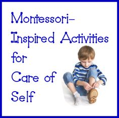 Practical life is one of the most important areas of Montessori education. Because the child's independence is such an important goal in Montessori, care of self is an especially important part of practical life. Montessori Preschool, Montessori Education, Toddler Preschool, Kids Education, Learning Activities, Preschool Activities, Learning Stations, Preschool Classroom, Special Education