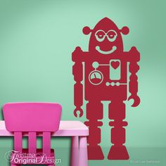 Large Robot Wall Decal - Robot Nursery Art or Party Decoration for Boys, Girls, Teens, Toddler, Geekery Cranberry. $38.00, via Etsy.