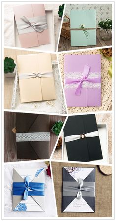 pocket wedding invitations with different colors to match your wedding color schemes