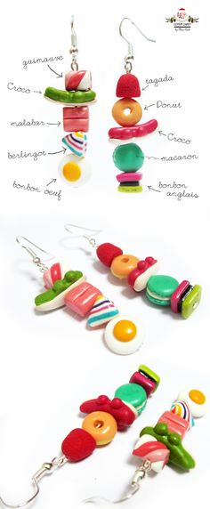 Ear rings skewers of sweet chewing gum Cute Polymer Clay, Cute Clay, Polymer Clay Miniatures, Fimo Clay, Polymer Clay Projects, Polymer Clay Charms, Polymer Clay Creations, Polymer Clay Jewelry, Clay Crafts