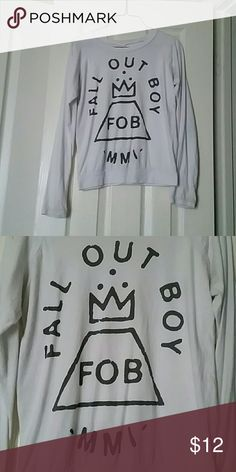 Hot topic fall out boy white sweater I am selling this hot topic fall out boy sweater/long sleeve tshirt. It is a size medium, only worn a few times, in great condition.  Feel free to make me an offer through the offer button. :)     Tags: hot topic, tshirt, sweater, fangirl, goth, punk, grunge, hipster, emo, fall out boy, fall, long sleeve, white, grey, gray, Hot Topic Tops Tees - Long Sleeve