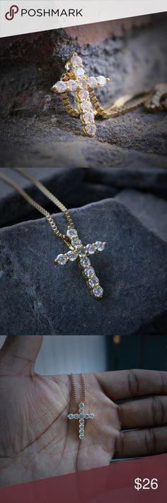 14k gold Lab Simulated Diamond Mini Cross Necklace 14k gold Lab Simulated Diamond Mini Cross NecklaceThe chain is made of a ultra premium 14k gold plating over stainless steel.Pendant is iced out in white lab simulated diamonds.Pendant size is 15mm in length.Comes with a 1.5mm width 18,20,22,24,26,30 inch 14k gold plated 316 stainless steel box chain Ts Verniel Jewelry Necklaces