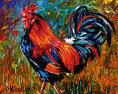 Rooster Art painting farm animal paintings by Debra Hurd, painting by artist Debra Hurd