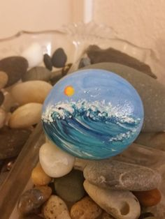 "Painted Beach Stone ""Wave"""
