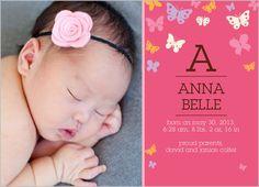 Butterflies Baby Girl Birth Announcement