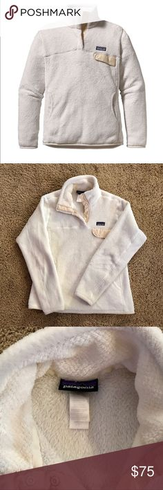 White Patagonia Re-Tool Snap Pullover Size small, cozy Patagonia fleece pullover. Good condition. Patagonia Tops Sweatshirts & Hoodies