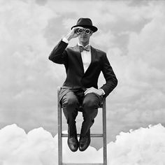 © Rodney Smith, Reed Perched on the top of Ladder with Binoculars, Snedens Landing, New York, 2012