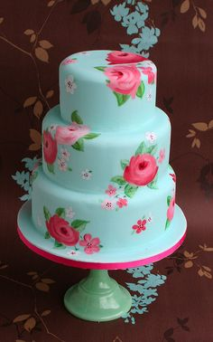www.facebook.com/cakecoachonline - sharing..... Blue and pink hand-painted rose wedding cake