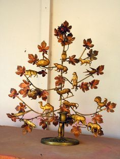Vintage Brass Copper Tin Tree of Life Candelabra