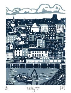 Whitby No.2 two-colour lino cut designed and printed by James Green / James Green Printworks, on Folksy