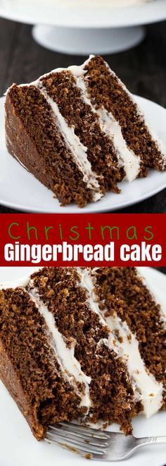 Celebrate the Holidays in style with this incredible Christmas Gingerbread Cake. Three layers of moist gingerbread are covered with a #cream #cheese #frosting for an amazing Christmas #dessert that will impress everyone! Do you love gingerbread? I know I do! This gingerbread cake has the most amazing gingerbread flavor.