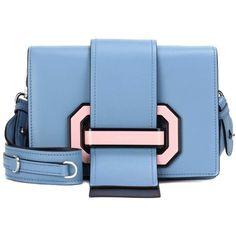 Prada Plex Ribbon Leather Shoulder Bag ($2,625) ❤ liked on Polyvore featuring bags, handbags, shoulder bags, blue, prada handbags, leather shoulder handbags, blue handbags, leather handbags and genuine leather handbags