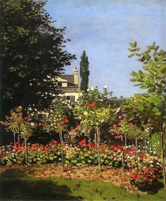 Клод Моне - Garden in Bloom at Sainte-Addresse, 1866. JPG. Клод Оскар Моне