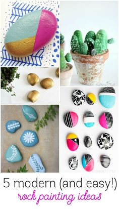 5 Modern Rock Painting Ideas to Try this Summer. 5 Modern Rock Painting Ideas to Try this Summer (Design Improvised) Pebble Painting, Stencil Painting, Pebble Art, Stone Painting, Rock Painting Patterns, Rock Painting Ideas Easy, Rock Painting Designs, Rock Crafts, Arts And Crafts