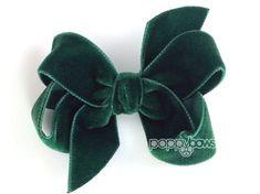 Velvet Hair Bow Dark Green Hunter 3 Inch Christmas by PoppyBows