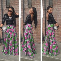 http://dabonke.blogspot.com/2015/08/beautiful-ankara-skirt-with-black-lace.html