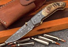 Custom Handmade Damascus Sheep-Horn Folding Pocket Knife via Sultan Blades. Click on the image to see more!
