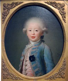 "Louis-Antoine de Bourbon, Duc d'Angouleme, 1785, by Joseph Boze. The Duc d""Angouleme became Louis XIX for about 10 minutes in 1830. Married his 1st cousin, Marie Therese, Madame Royale, daughter of Louis XVI and Marie Antoinette. No issue."