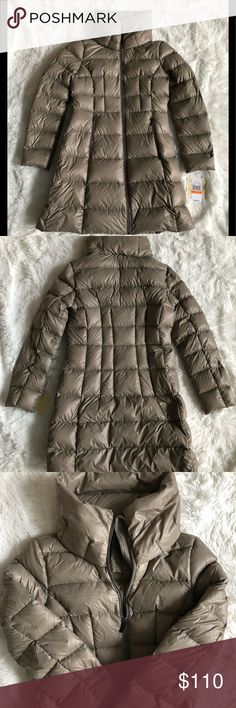 """Michael Kors taupe long puffer jacket Michael Kors long puffer down filler jacket. Standard fit puffer coat that skims the body for a silhouette fit. Very flattering. Armpit to armpit is 18"""" and length is 33"""". Brand new with tags. Michael Kors Jackets & Coats Puffers"""