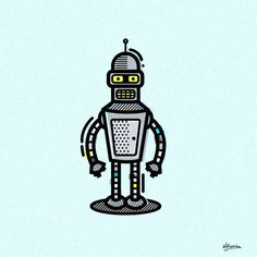 Illustrations of famous movie robots.