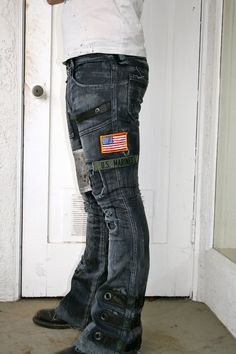 Pantalon de patch denim gris Stretch par BoneBlack sur Etsy