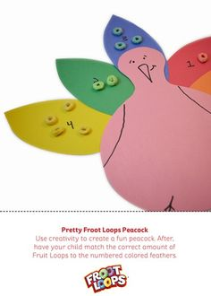 Pretty Foot Loops Peacock is a great way to help kids learn counting and colors.