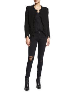 Iro Shavani Boucle Jacket, Sian Sheer Striped Tank & Irma Distressed Skinny Jeans