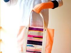 【セール!】手織りのオリジナルテキスタイルと倉敷帆布のトートバッグ(ピンク)の画像