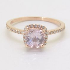Rose gold  engagement diamonds halo ring with 1.38 by ReneJewelry, $1380.00