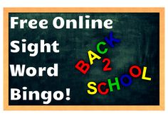 Free Interactive Online Bingo! Great way to practice sight words in a fun manner!