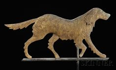Molded Gilt Copper Irish Setter Weathervane, America, early 20th century, flattened full-body form with textured surface, applied sheet copper ears, mounted on a copper rod, with stand, overall ht. 18, lg. 32 1/4 in.   Sold for $ 4,740