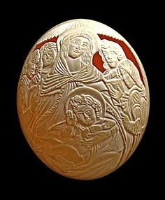 Carving on ostrich eggs