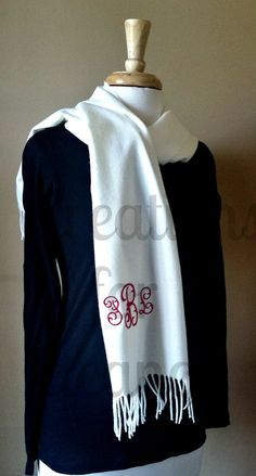 Women's Monogrammed Scarf, Cashmere Feel Scarf, Monogrammed Cashmere Feel Scarf…