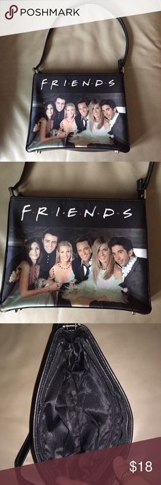 """Friends T.V. Series Handbag / Purse w Rhinestones Popular television series """"Friends"""" handbag. Great condition! Embellished with colored rhinestones.  Protective """"feet"""" on bottom - nicely made!  Measures 8"""" high x 10"""" wide x 2 1/2"""" Deep. Feet on bottom. Inside has zippered side pocket on one side other side has two slide pockets.  Awesome gift for the """"Friends"""" fan! Bags Shoulder Bags"""